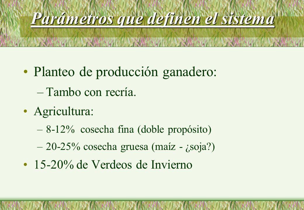 Parámetros que definen el sistema Planteo de producción ganadero: –Tambo con recría.
