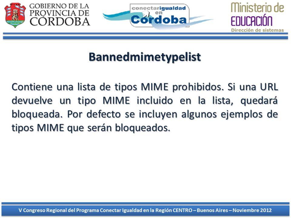 Bannedmimetypelist Contiene una lista de tipos MIME prohibidos. Si una URL devuelve un tipo MIME incluido en la lista, quedará bloqueada. Por defecto