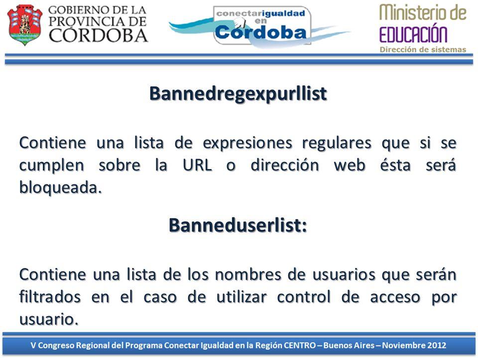 Bannedregexpurllist Contiene una lista de expresiones regulares que si se cumplen sobre la URL o dirección web ésta será bloqueada. Banneduserlist: Co