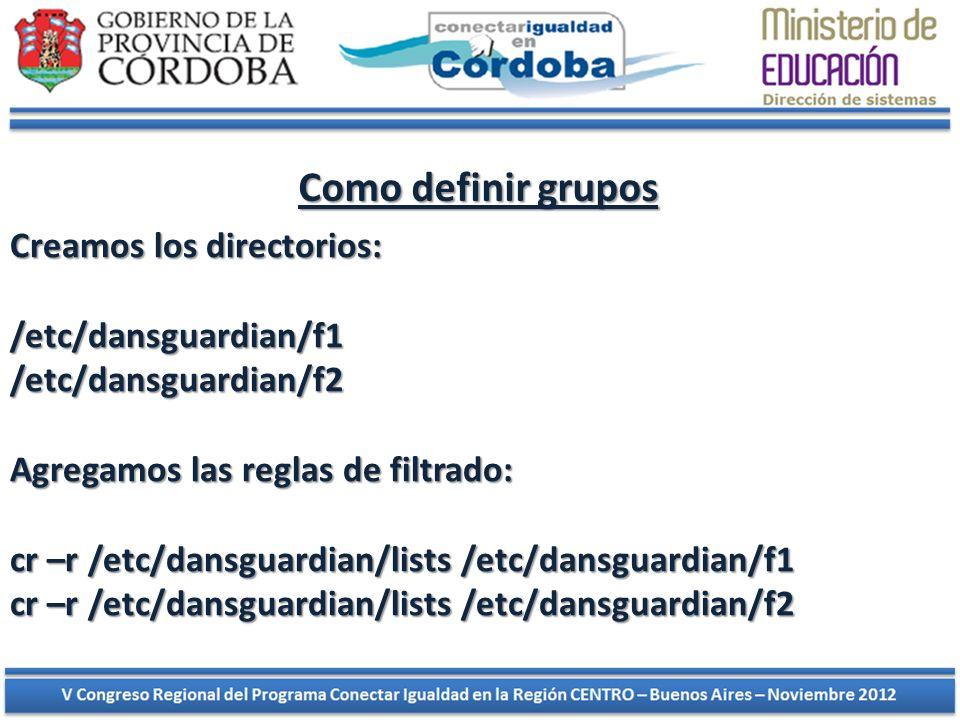 Como definir grupos Como definir grupos Creamos los directorios: /etc/dansguardian/f1 /etc/dansguardian/f2 Agregamos las reglas de filtrado: cr –r /et