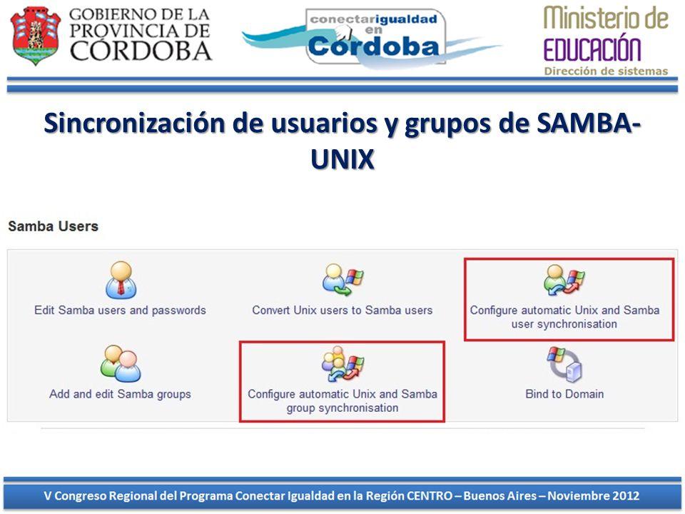 Nos dirigimos al módulo de Samba e ingresamos en la opción CONFIGURE AUTOMATIC UNIX AND SAMBA USER SYNCHRONISATION, luego marcamos las siguientes opciones como se muestra en la imagen: