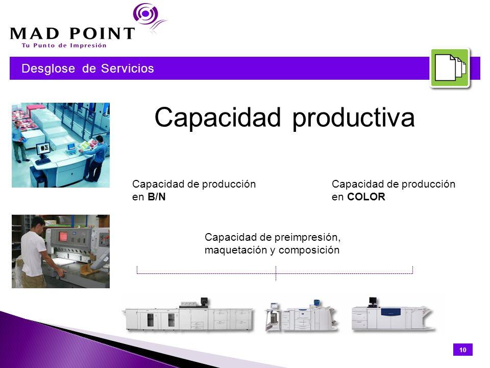 Capacidad productiva Capacidad de producción en B/N Capacidad de producción en COLOR Capacidad de preimpresión, maquetación y composición 10 Desglose