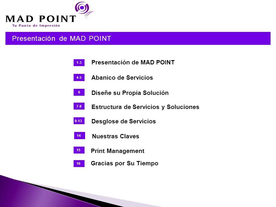 Presentación de MAD POINT 1-3 4-5 Abanico de Servicios 6 Diseñe su Propia Solución 7-8 Estructura de Servicios y Soluciones 9-13 Desglose de Servicios