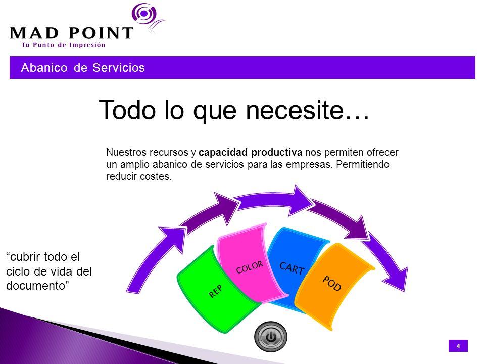 Print Management 15 Print Management Mad Point, S.L, compañía fundada en 2011 y de capital 100% español, ha implantado en España el servicio de consultoría y desarrollo de los procesos de impresión denominado internacionalmente Print Management.