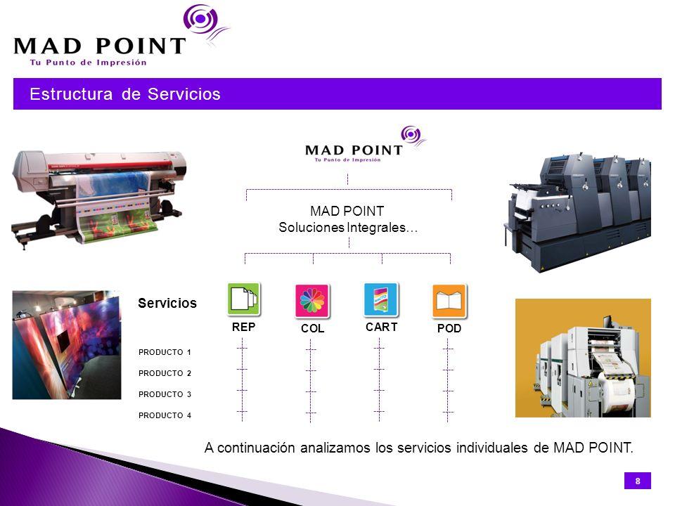 · FOLLETOS · CATÁLOGOS · MATERIAL PROMOCIONAL · PRESENTACIONES · CARTELES · INVITACIONES · DIPLOMAS · TARJETAS · MEMORIAS · MANUALES TÉCNICOS · CALENDARIOS · MATERIALES PUBLICITARIO · MANUALES DE USUARIO · MEMORIAS TÉCNICAS · COMUNICACIONES MASIVAS Flexibilidad productiva Enviado donde se necesita Nos comprometemos a no realizar ninguna entrega fuera del plazo acordado Cualquier TECNOLOGÍA (digital, offset, inkjet…) Cualquier FORMATO (pequeño, grande, planos…) Cualquier ACABADO (laminado, encuadernación, cosido…) 9 Cualquier GESTIÓN (fulfilment, distribución…) Desglose de Servicios