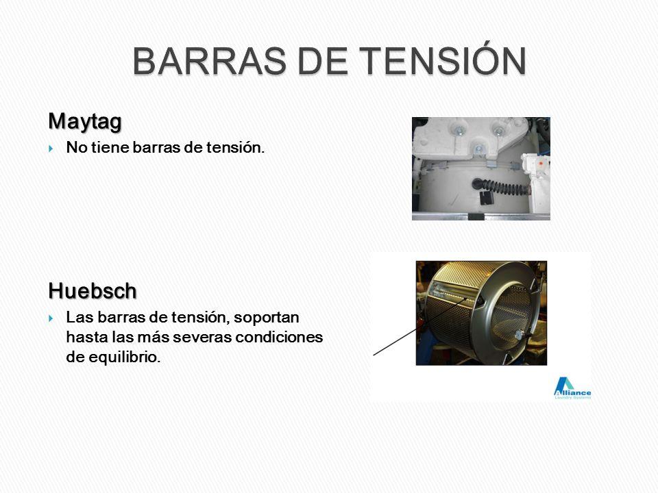 Maytag No tiene barras de tensión.Huebsch Las barras de tensión, soportan hasta las más severas condiciones de equilibrio.