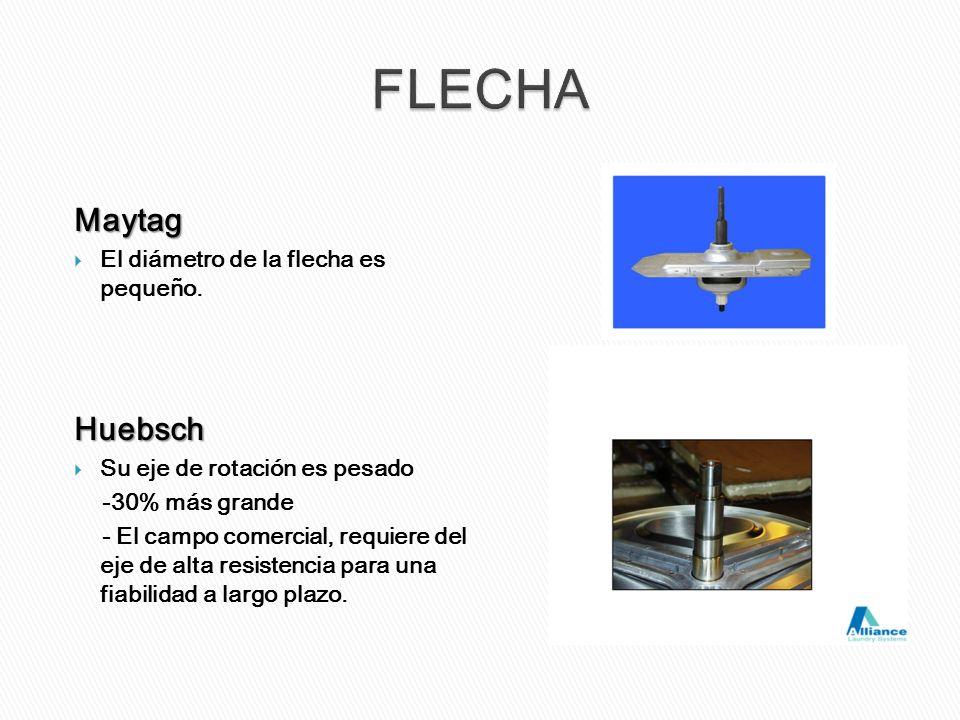 Maytag El diámetro de la flecha es pequeño.Huebsch Su eje de rotación es pesado -30% más grande - El campo comercial, requiere del eje de alta resiste