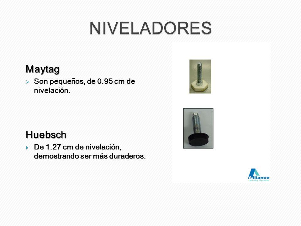 Maytag Son pequeños, de 0.95 cm de nivelación.Huebsch De 1.27 cm de nivelación, demostrando ser más duraderos. De 1.27 cm de nivelación, demostrando s