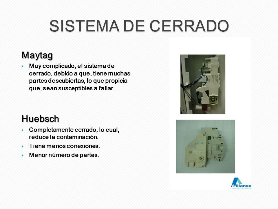 Maytag Muy complicado, el sistema de cerrado, debido a que, tiene muchas partes descubiertas, lo que propicia que, sean susceptibles a fallar.Huebsch