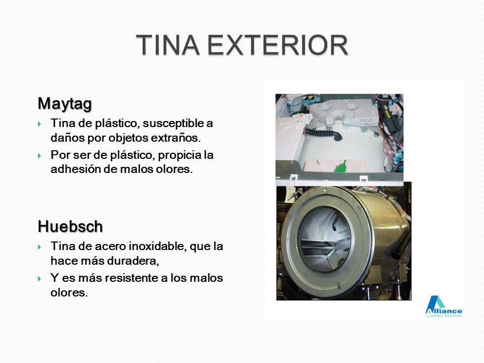 Maytag Tina de plástico, susceptible a daños por objetos extraños. Por ser de plástico, propicia la adhesión de malos olores.Huebsch Tina de acero ino
