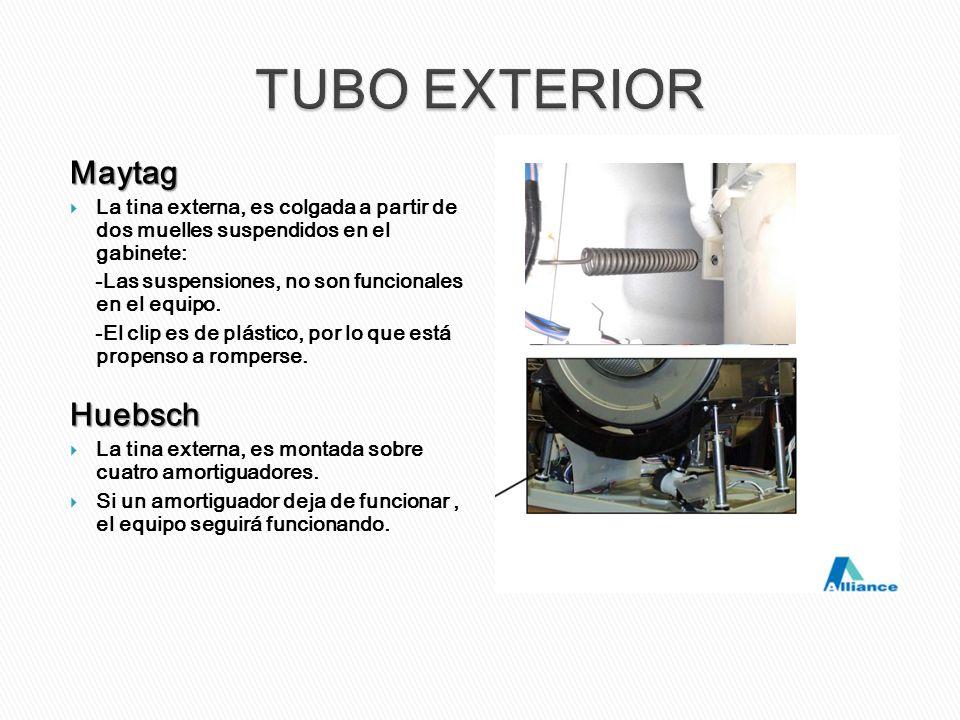Maytag La tina externa, es colgada a partir de dos muelles suspendidos en el gabinete: -Las suspensiones, no son funcionales en el equipo. -El clip es