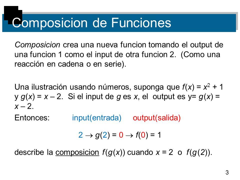 4 Composicion de Funciones Si usamos g(x) = x – 2 como input en f, tenemos f (g (x)) = f (x – 2) = (x – 2) 2 + 1.