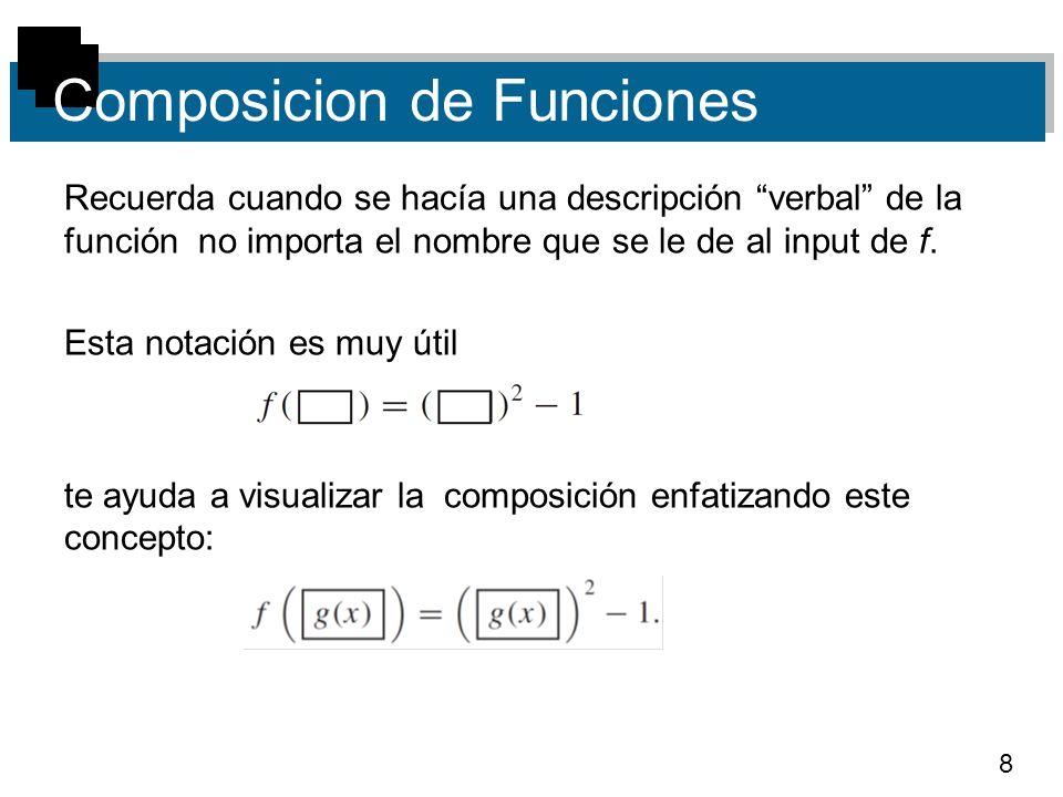 8 Composicion de Funciones Recuerda cuando se hacía una descripción verbal de la función no importa el nombre que se le de al input de f. Esta notació