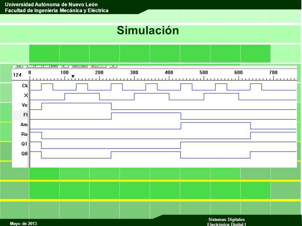 Mayo de 2013 Sistemas Digitales Electrónica Digital I Universidad Autónoma de Nuevo León Facultad de Ingeniería Mecánica y Eléctrica Simulación