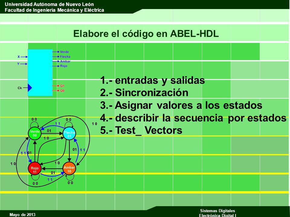 Mayo de 2013 Sistemas Digitales Electrónica Digital I Universidad Autónoma de Nuevo León Facultad de Ingeniería Mecánica y Eléctrica Elabore el código