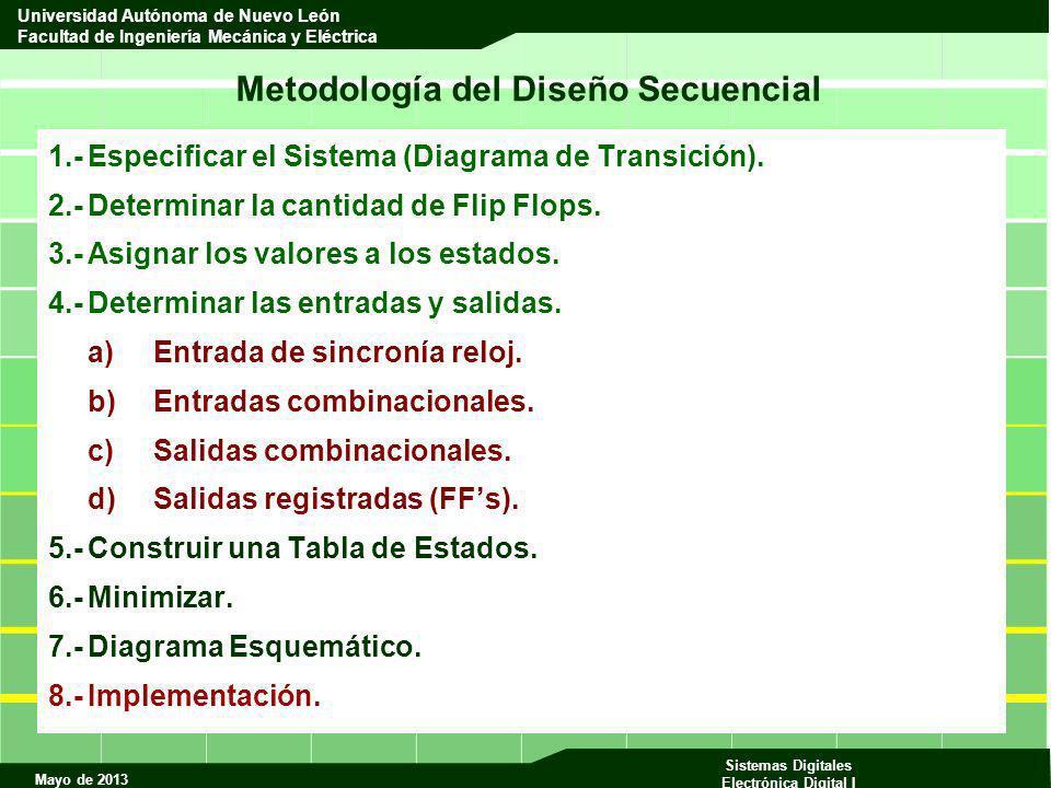 Mayo de 2013 Sistemas Digitales Electrónica Digital I Universidad Autónoma de Nuevo León Facultad de Ingeniería Mecánica y Eléctrica Metodología del D