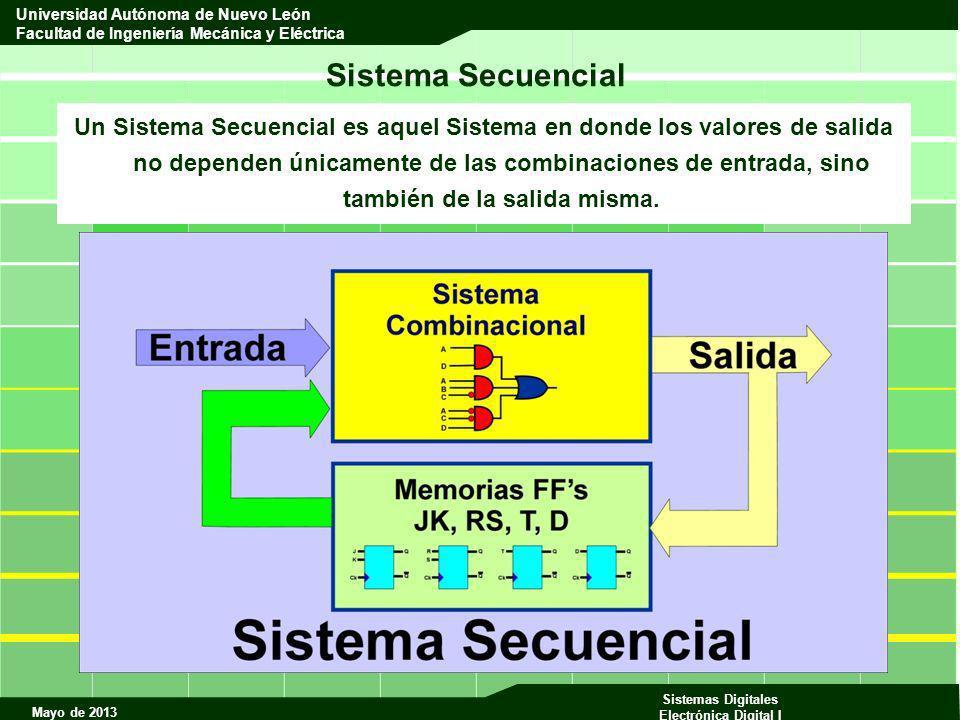 Mayo de 2013 Sistemas Digitales Electrónica Digital I Universidad Autónoma de Nuevo León Facultad de Ingeniería Mecánica y Eléctrica Sistema Secuencial Un Sistema Secuencial es aquel Sistema en donde los valores de salida no dependen únicamente de las combinaciones de entrada, sino también de la salida misma.