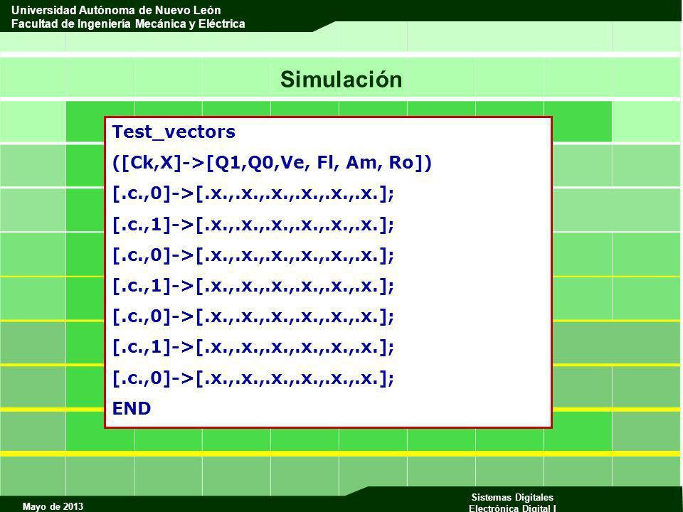 Mayo de 2013 Sistemas Digitales Electrónica Digital I Universidad Autónoma de Nuevo León Facultad de Ingeniería Mecánica y Eléctrica Test_vectors ([Ck