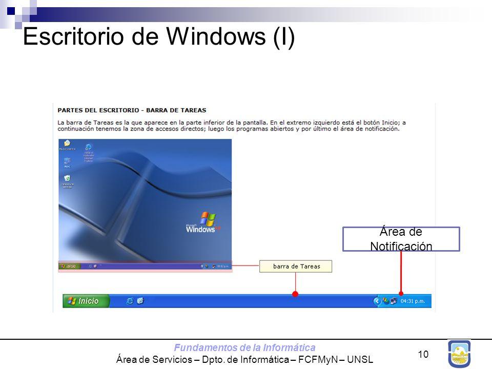 Fundamentos de la Informática Área de Servicios – Dpto. de Informática – FCFMyN – UNSL 10 Escritorio de Windows (I) Área de Notificación