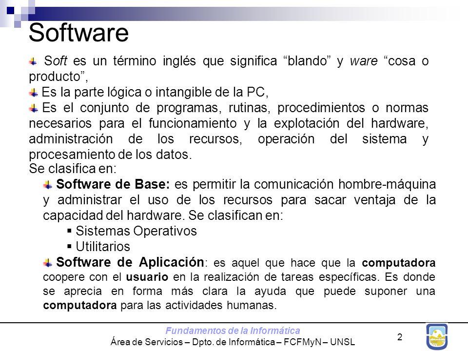 Fundamentos de la Informática Área de Servicios – Dpto. de Informática – FCFMyN – UNSL 2 Software Soft es un término inglés que significa blando y war