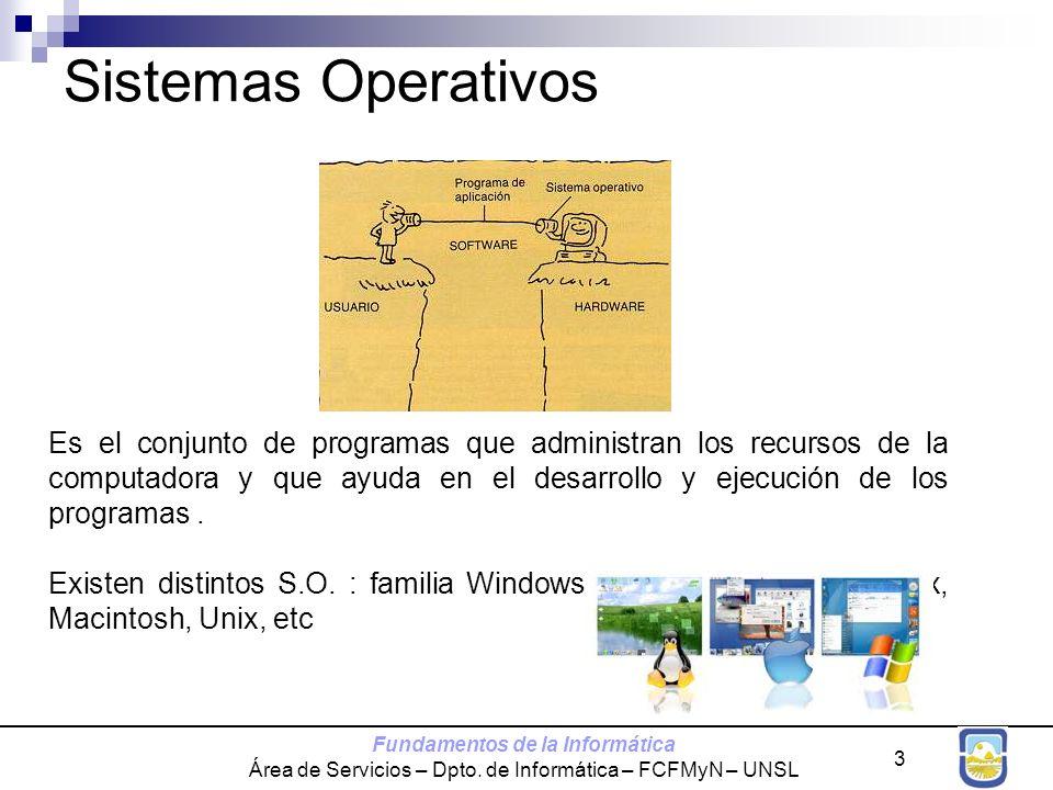 Fundamentos de la Informática Área de Servicios – Dpto. de Informática – FCFMyN – UNSL 3 Es el conjunto de programas que administran los recursos de l
