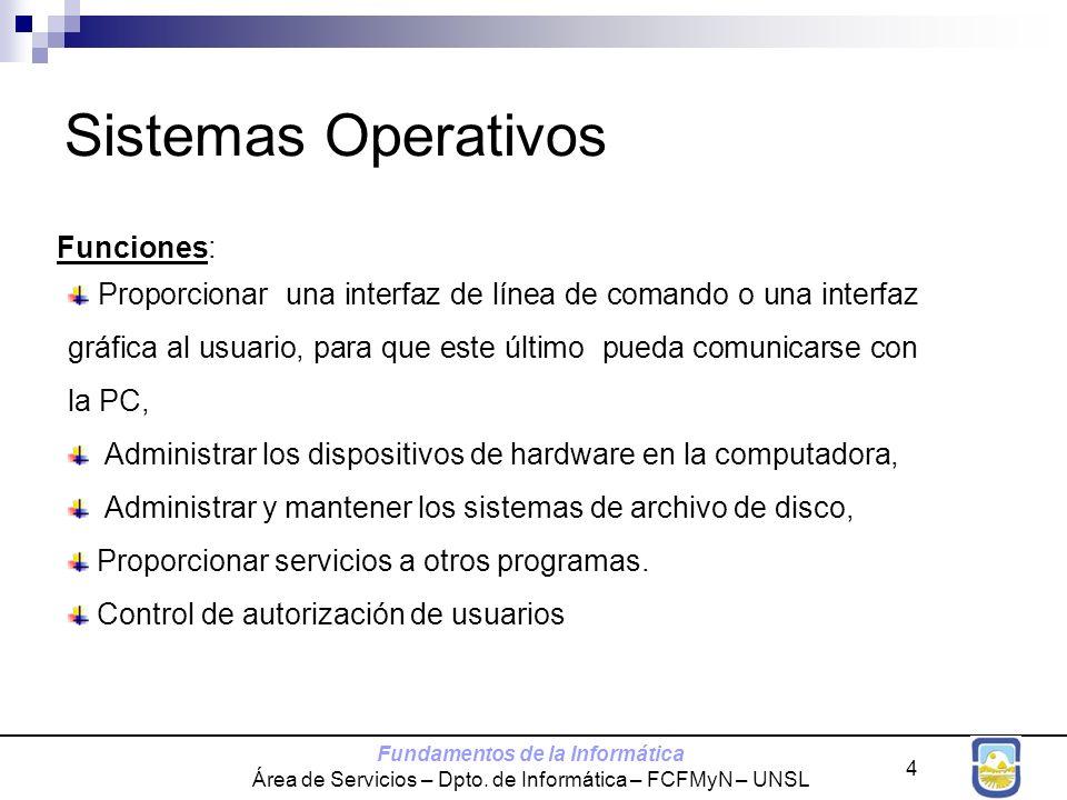 Fundamentos de la Informática Área de Servicios – Dpto. de Informática – FCFMyN – UNSL 4 Sistemas Operativos Funciones: Proporcionar una interfaz de l