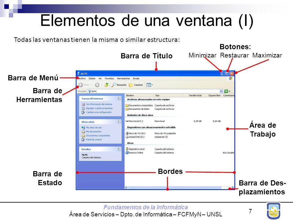 Fundamentos de la Informática Área de Servicios – Dpto. de Informática – FCFMyN – UNSL 7 Elementos de una ventana (I) Todas las ventanas tienen la mis