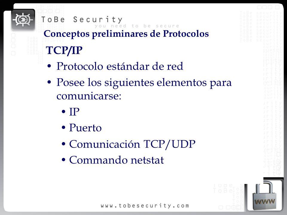 TCP/IP Protocolo estándar de red Posee los siguientes elementos para comunicarse: IP Puerto Comunicación TCP/UDP Commando netstat Conceptos preliminar