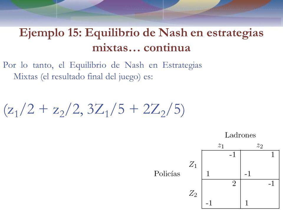 Ejemplo 15: Equilibrio de Nash en estrategias mixtas… continua Por lo tanto, el Equilibrio de Nash en Estrategias Mixtas (el resultado final del juego) es: (z 1 /2 + z 2 /2, 3Z 1 /5 + 2Z 2 /5) 100