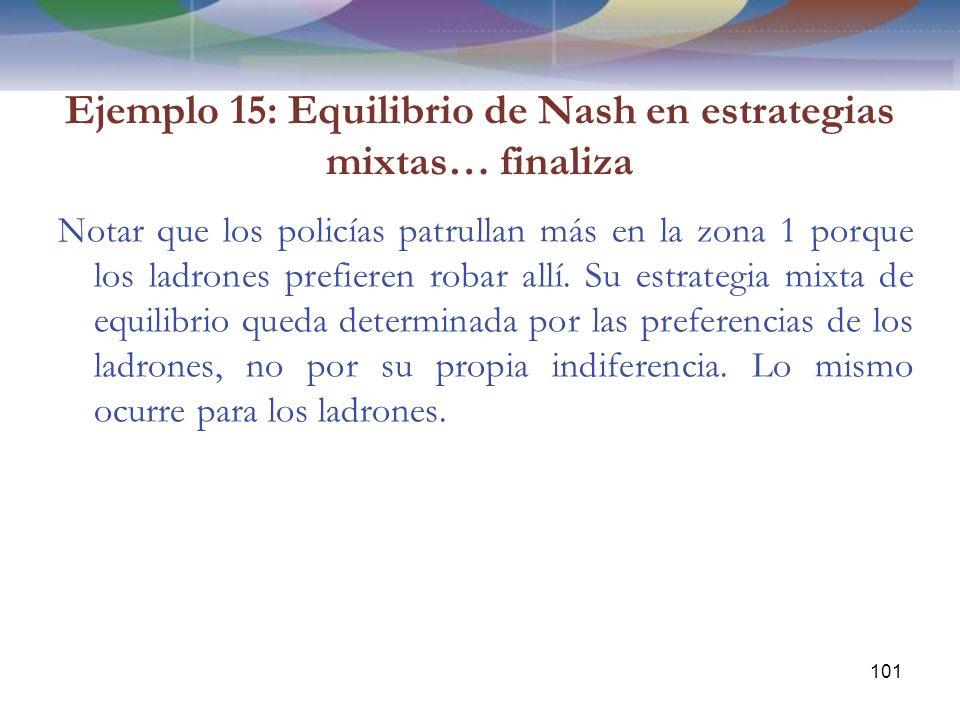 Ejemplo 15: Equilibrio de Nash en estrategias mixtas… finaliza Notar que los policías patrullan más en la zona 1 porque los ladrones prefieren robar allí.