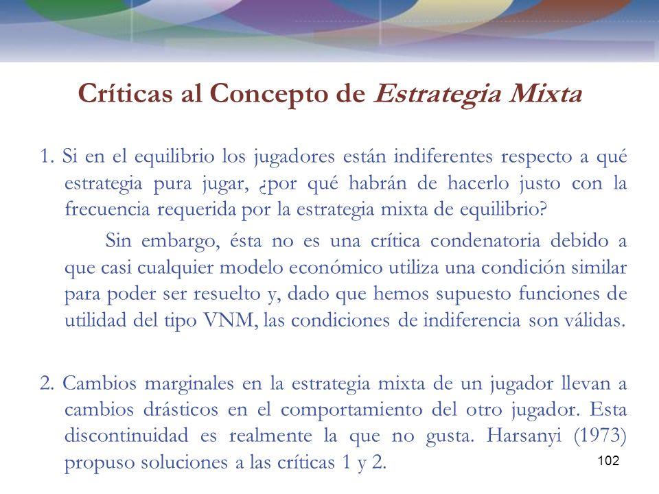 Críticas al Concepto de Estrategia Mixta 1.