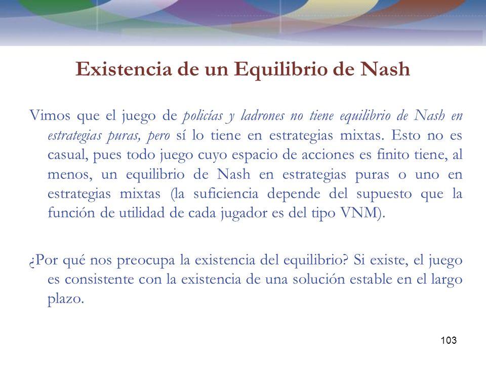 Existencia de un Equilibrio de Nash Vimos que el juego de policías y ladrones no tiene equilibrio de Nash en estrategias puras, pero sí lo tiene en estrategias mixtas.