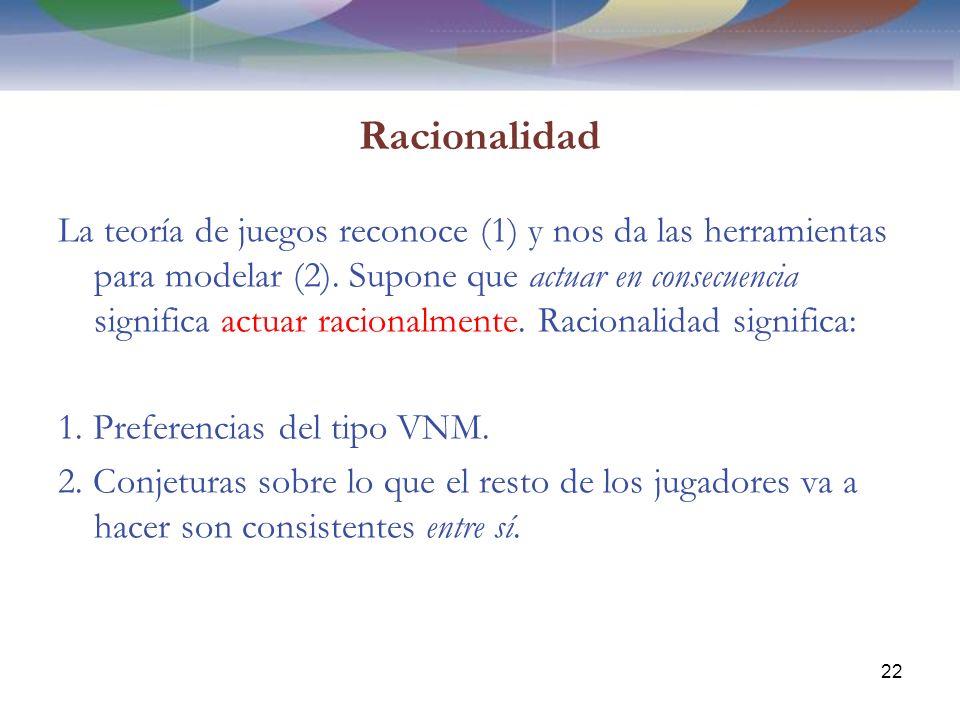 Racionalidad La teoría de juegos reconoce (1) y nos da las herramientas para modelar (2).
