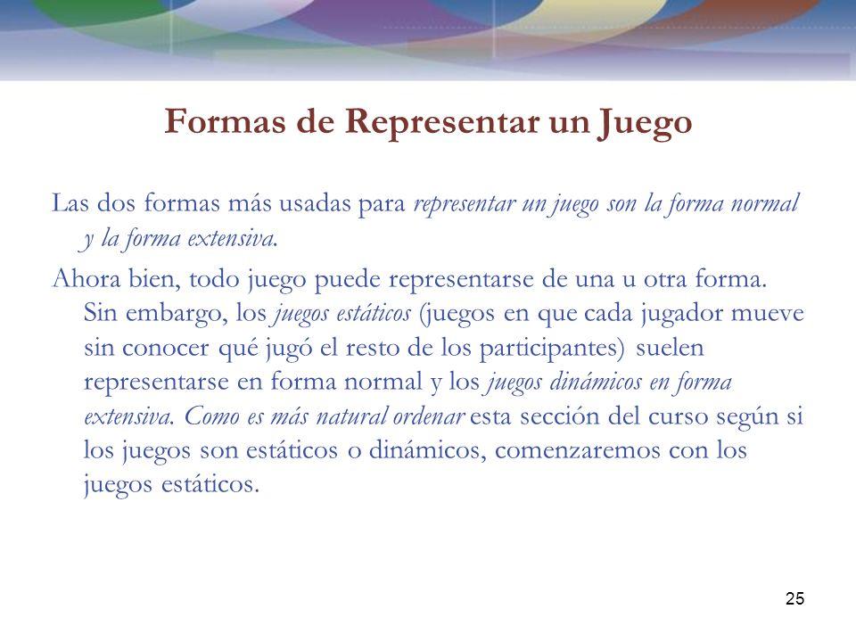 Formas de Representar un Juego Las dos formas más usadas para representar un juego son la forma normal y la forma extensiva.