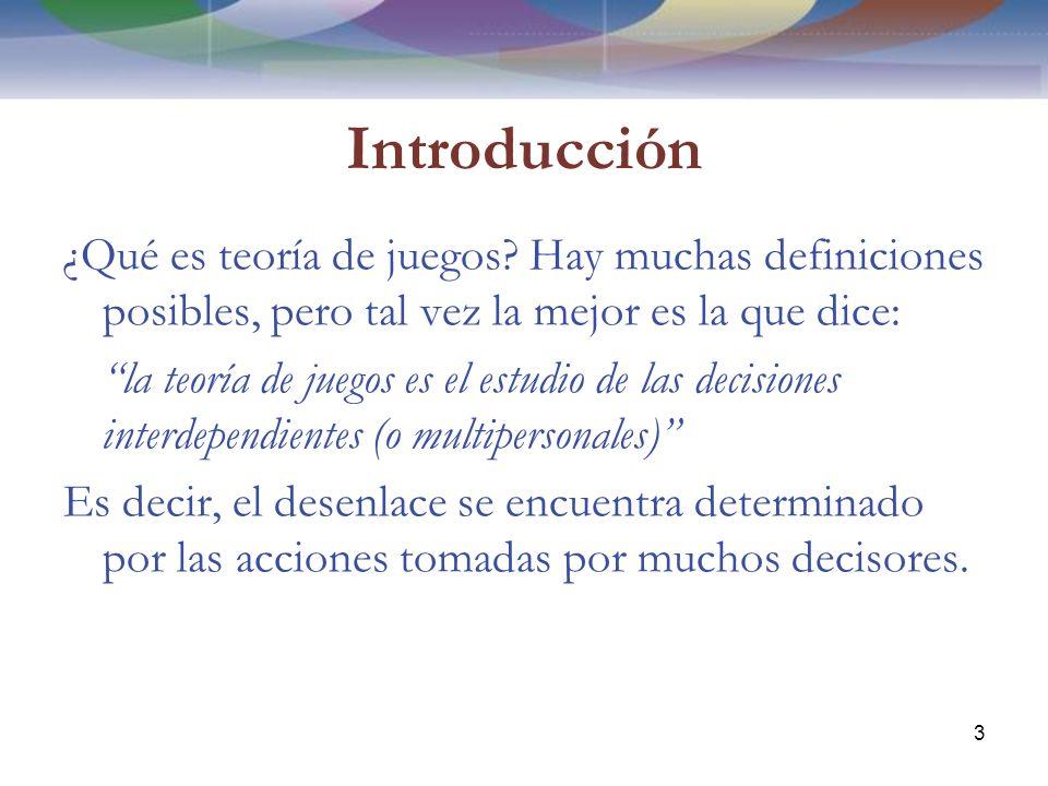 Introducción ¿Qué es teoría de juegos.