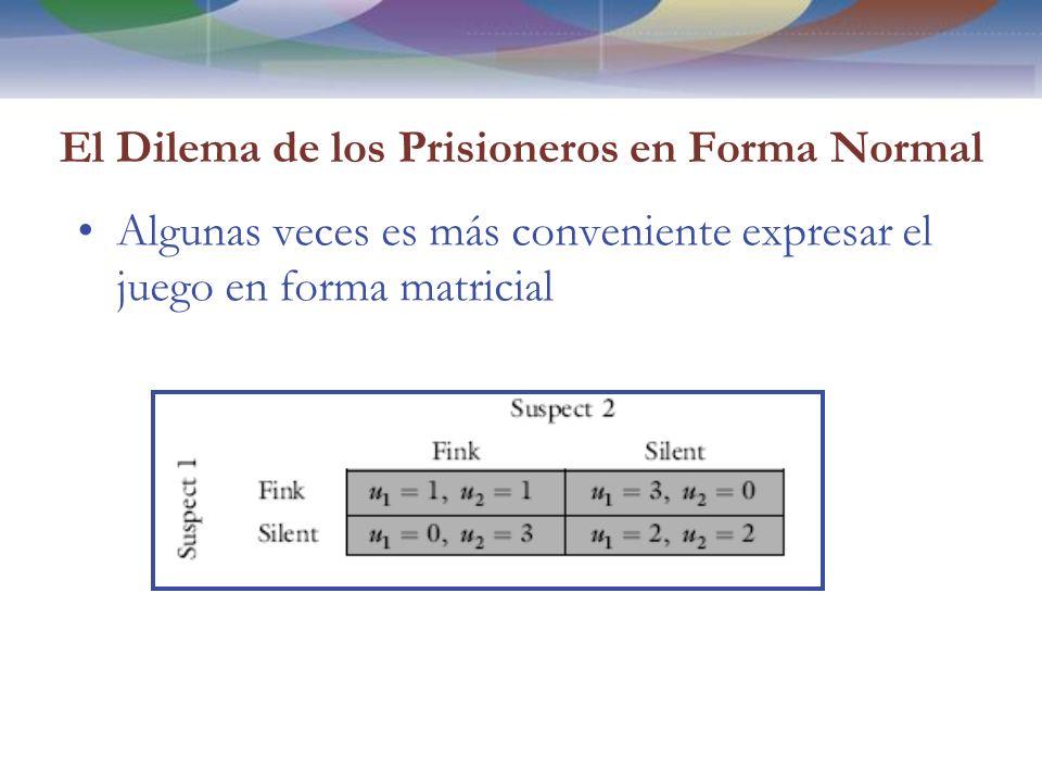 El Dilema de los Prisioneros en Forma Normal Algunas veces es más conveniente expresar el juego en forma matricial
