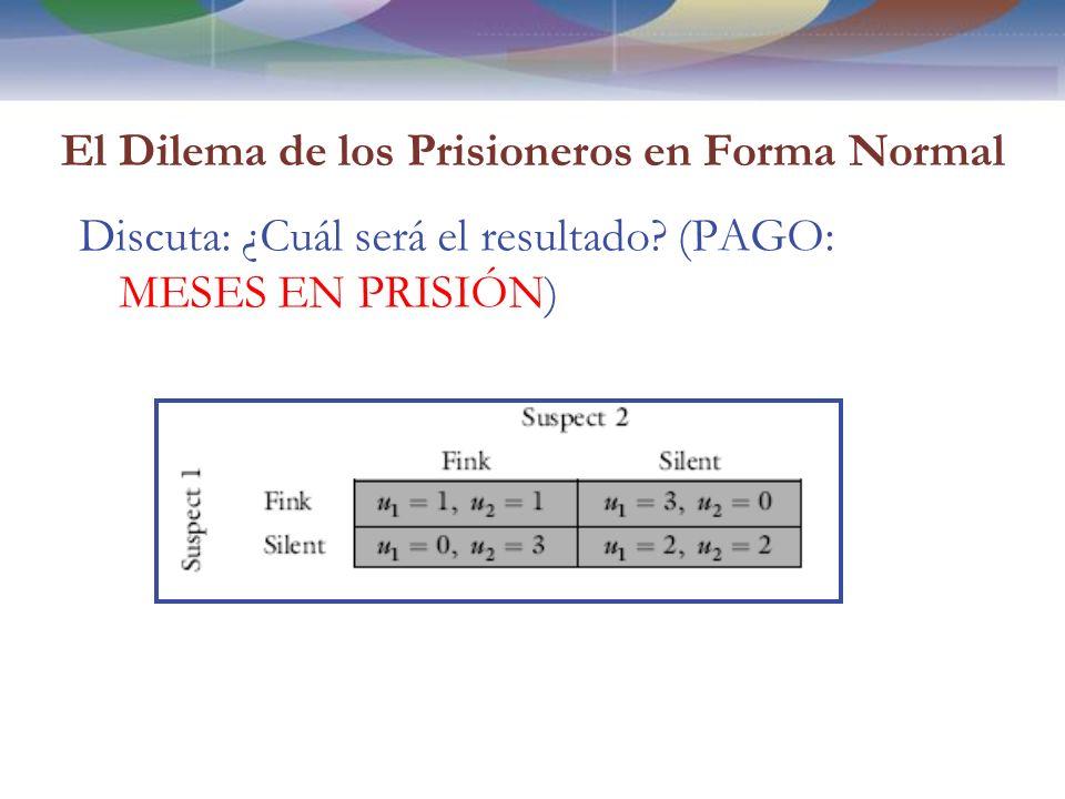 El Dilema de los Prisioneros en Forma Normal Discuta: ¿Cuál será el resultado.