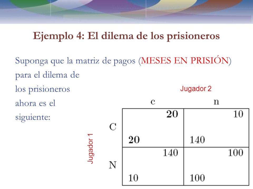 Ejemplo 4: El dilema de los prisioneros Suponga que la matriz de pagos (MESES EN PRISIÓN) para el dilema de los prisioneros ahora es el siguiente: 35 Jugador 2 Jugador 1