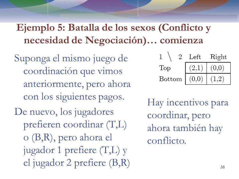 Ejemplo 5: Batalla de los sexos (Conflicto y necesidad de Negociación)… comienza Suponga el mismo juego de coordinación que vimos anteriormente, pero ahora con los siguientes pagos.