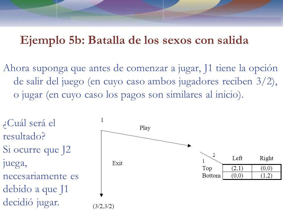 Ejemplo 5b: Batalla de los sexos con salida Ahora suponga que antes de comenzar a jugar, J1 tiene la opción de salir del juego (en cuyo caso ambos jugadores reciben 3/2), o jugar (en cuyo caso los pagos son similares al inicio).
