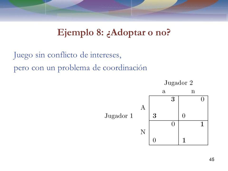 Ejemplo 8: ¿Adoptar o no? Juego sin conflicto de intereses, pero con un problema de coordinación 45