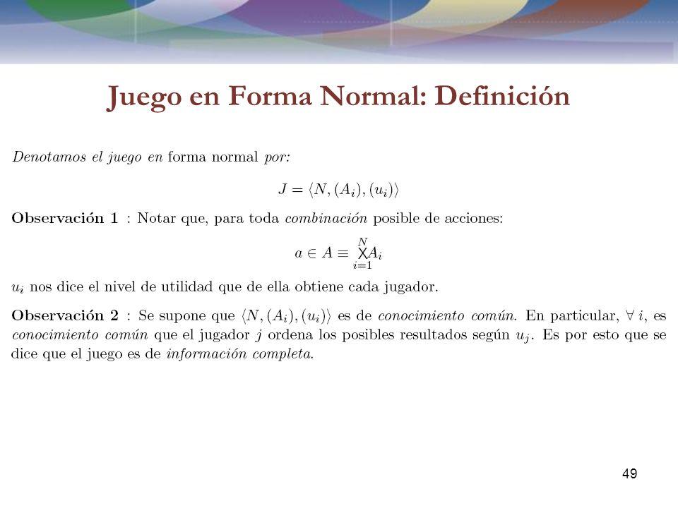 Juego en Forma Normal: Definición 49