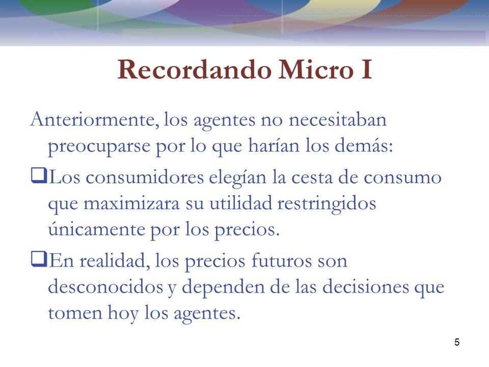 Recordando Micro I Anteriormente, los agentes no necesitaban preocuparse por lo que harían los demás: Los consumidores elegían la cesta de consumo que maximizara su utilidad restringidos únicamente por los precios.