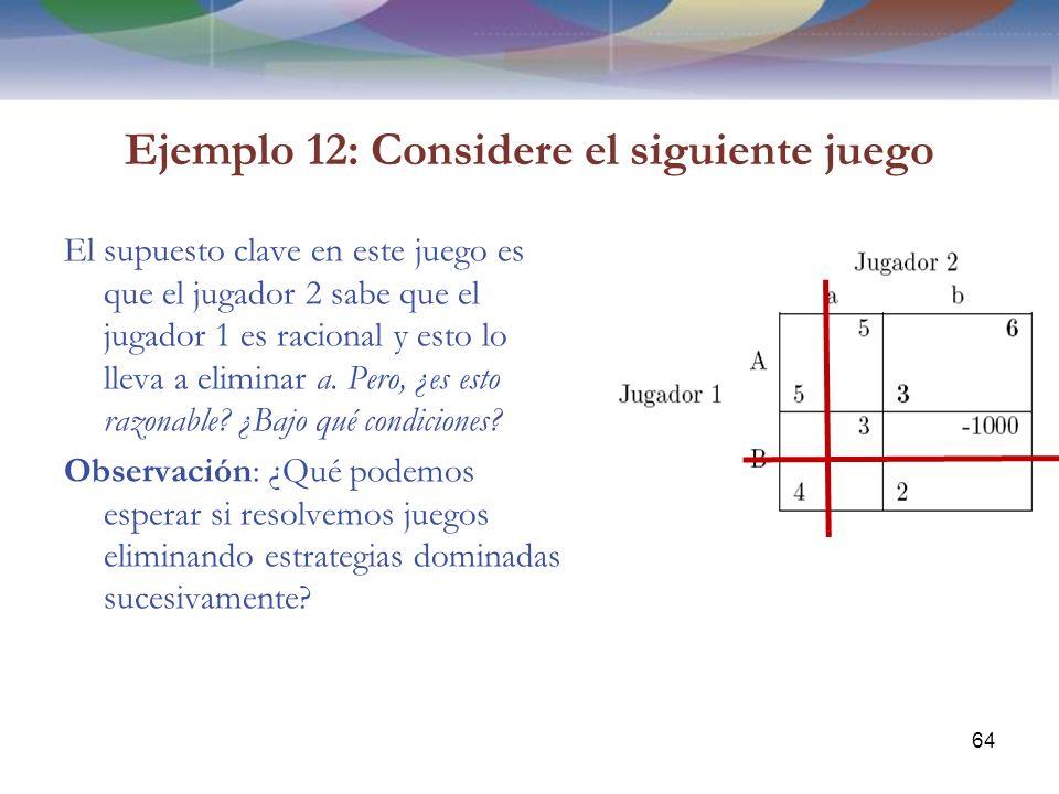 Ejemplo 12: Considere el siguiente juego El supuesto clave en este juego es que el jugador 2 sabe que el jugador 1 es racional y esto lo lleva a eliminar a.