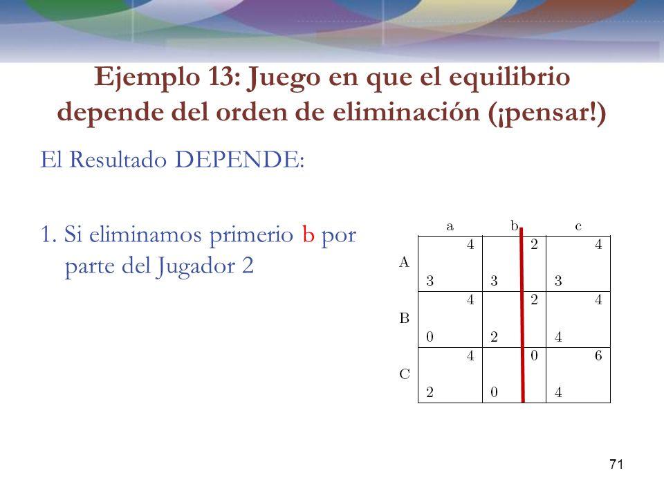 Ejemplo 13: Juego en que el equilibrio depende del orden de eliminación (¡pensar!) El Resultado DEPENDE: 1.