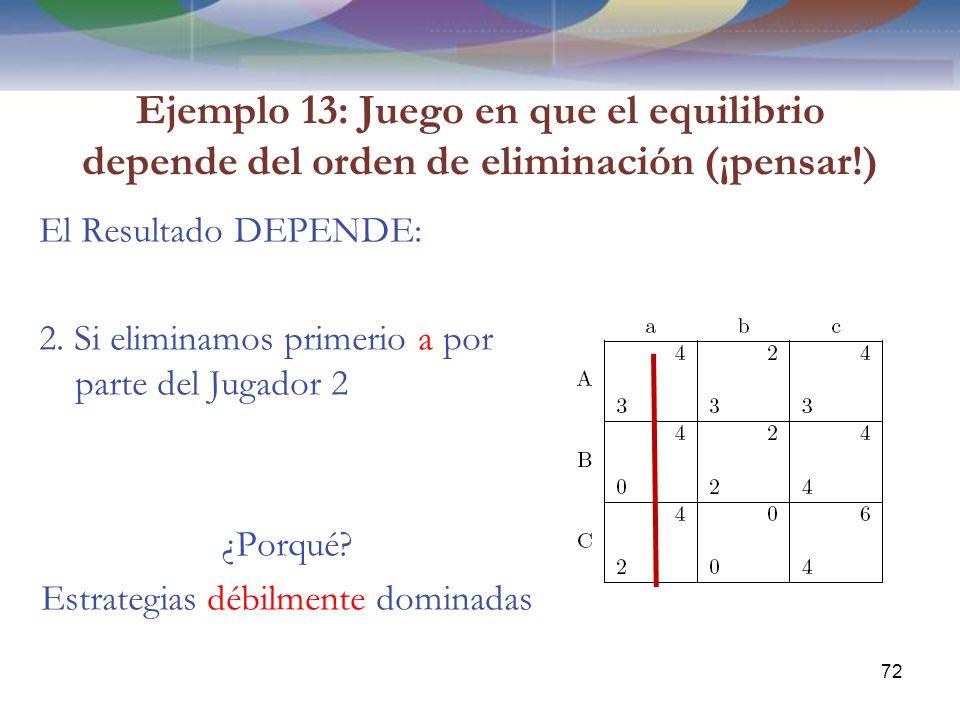 Ejemplo 13: Juego en que el equilibrio depende del orden de eliminación (¡pensar!) El Resultado DEPENDE: 2.