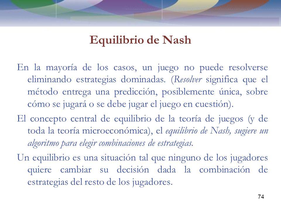 Equilibrio de Nash En la mayoría de los casos, un juego no puede resolverse eliminando estrategias dominadas.