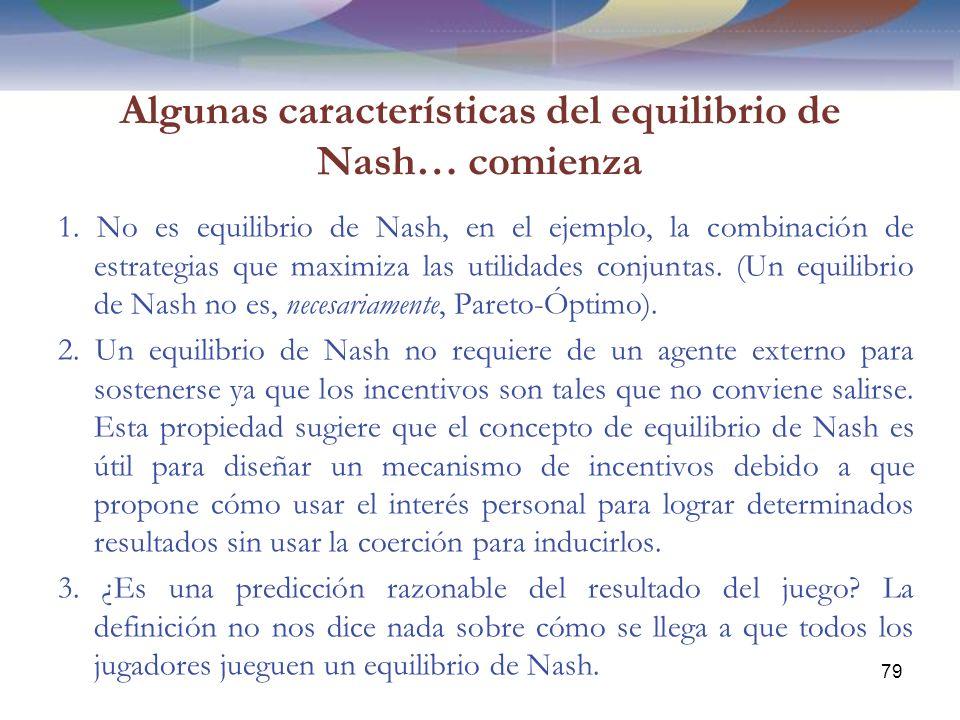 Algunas características del equilibrio de Nash… comienza 1.