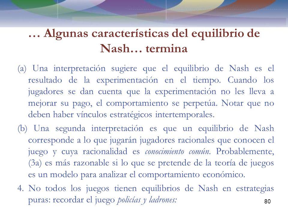 … Algunas características del equilibrio de Nash… termina (a) Una interpretación sugiere que el equilibrio de Nash es el resultado de la experimentación en el tiempo.