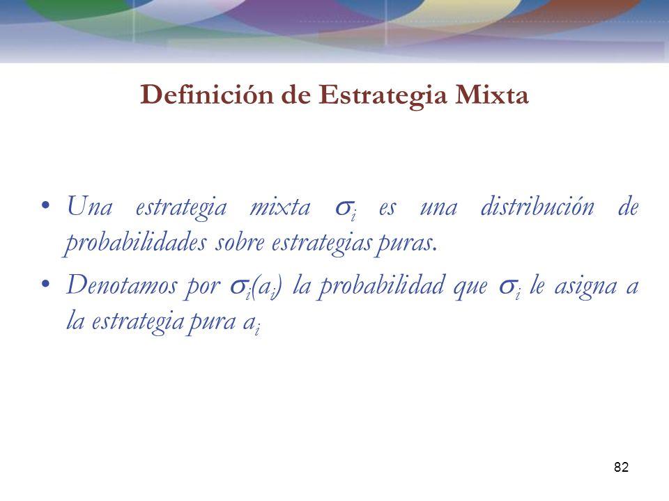 Definición de Estrategia Mixta Una estrategia mixta i es una distribución de probabilidades sobre estrategias puras.